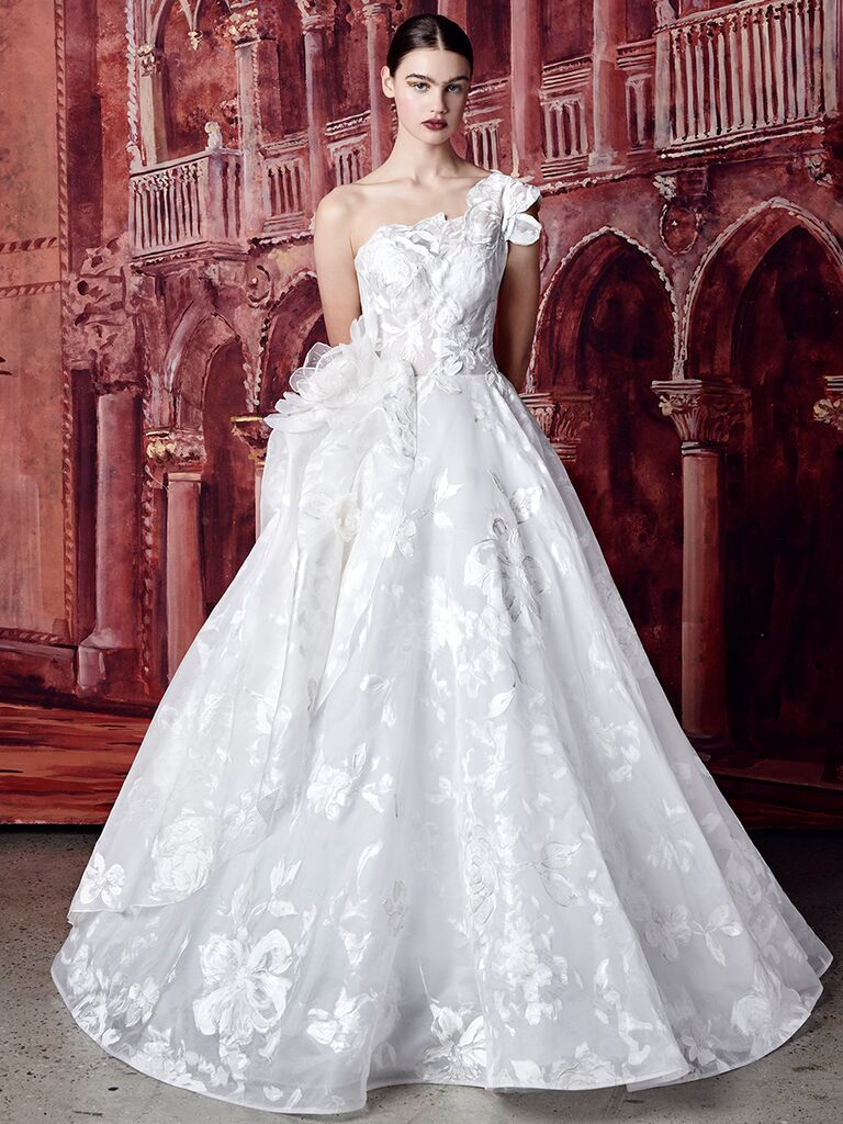 Isabelle Armstrong one-shoulder ballgown with floral embroidery