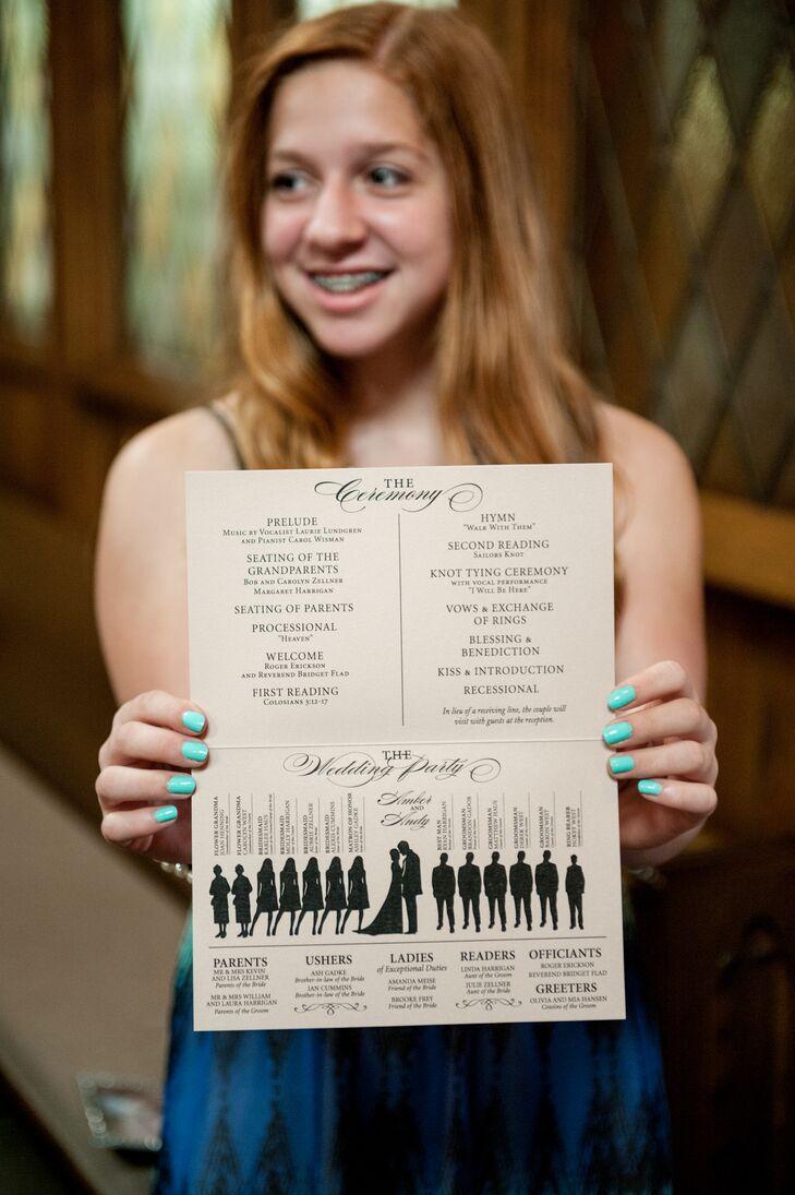 Large Black and White Wedding Program