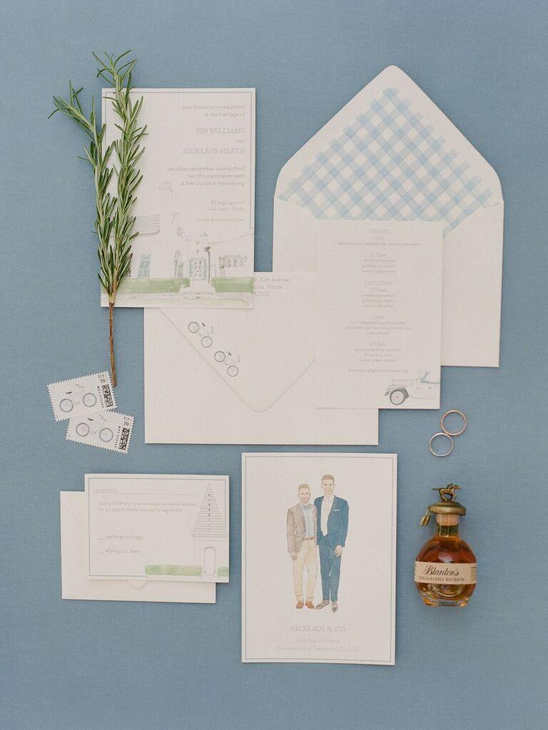 Wedding stationery flat lay