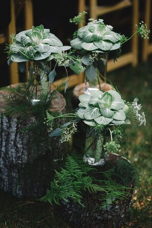 Rustic Arrangements with Baby's Breath, Leaves and Pine