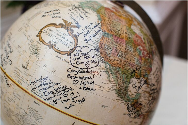 Instead of a traditional guest book, Carrie and Josh had their friends and family members write their well wishes on a world globe.