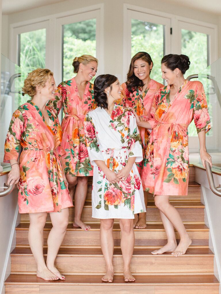 Living Coral Bridesmaid Robes