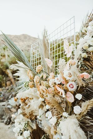 Bohemian Floral Display with Pampas Grass and Roses