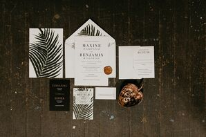 Modern Wedding Invitations with Plant Motif