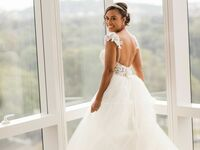 Bride wearing white ballgown wedding dress