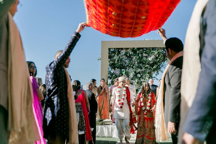Bride and Groom Recess from Traditional Indian Wedding Ceremony