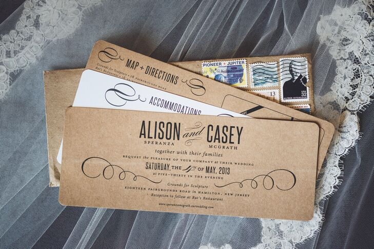 """""""Stepping away from traditional stationery, we went with an understated, kraft paper feel, punctuated with the use of assorted vintage stamps,"""" Alison recalls."""