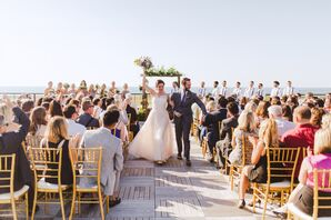 Couple Recessing from Rooftop Ceremony at Ariel International Center
