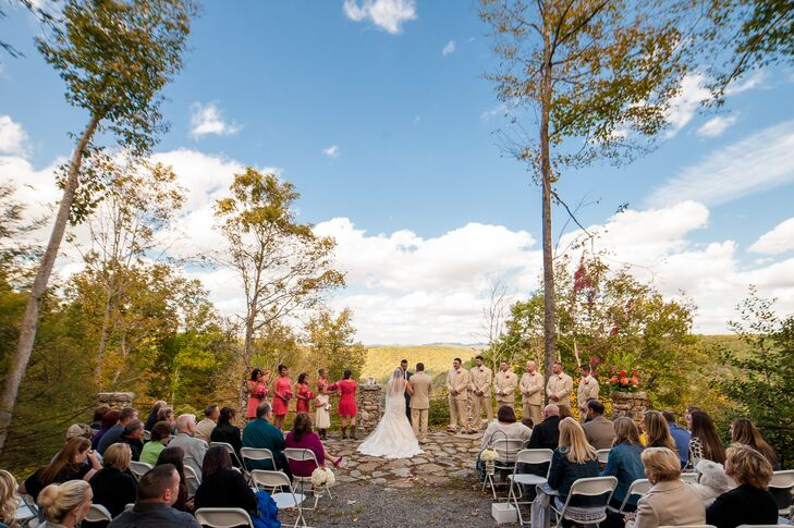 Megan and John got married outdoors at the Confluence Resort in Hico, West Virginia. Their ceremony took place on the stone patio that overlooked the surrounding mountains.