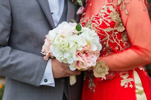 Silk Hydrangea and Rose Bouquet