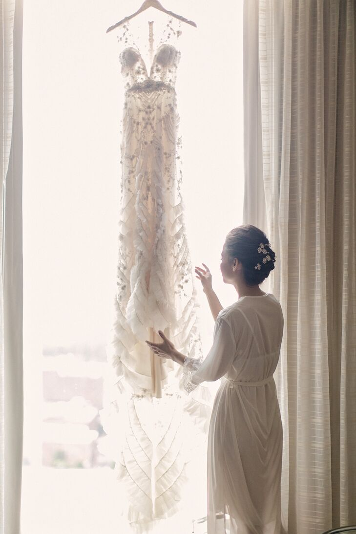 The matron of honor's mother gave Nicole solid advice before she went dress shopping: Go through wedding magazines and decide your style before trying on dresses. That way, you'll know beforehand what you like and won't get lost in others' opinions.