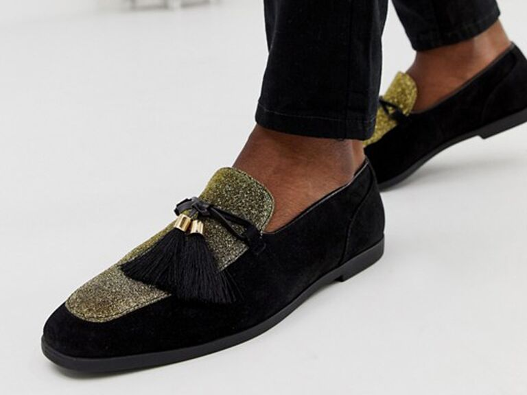 Sparkly loafer men's wedding shoes