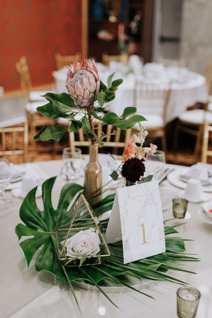 Modern Centerpieces with Protea, Table Number and Vase