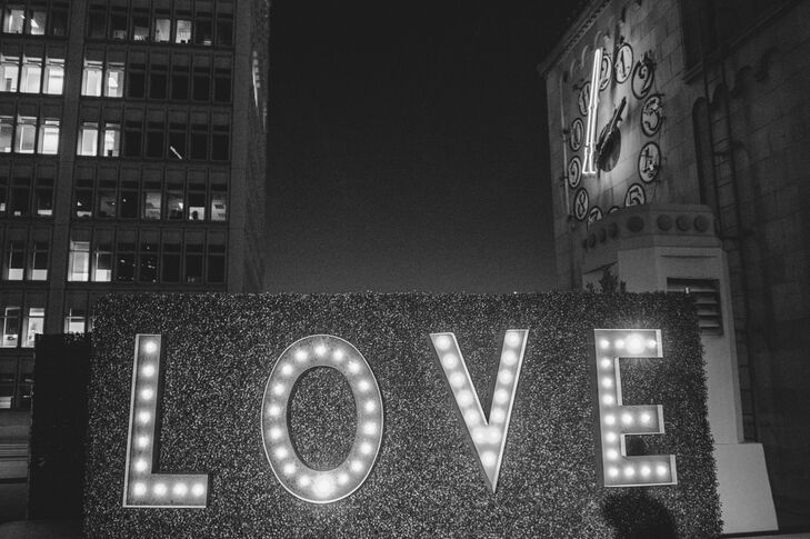 A centerpiece of the reception was this Love marquee lighting sign -- it was the backdrop for many pictures throughout the night.
