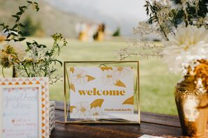 Printed Welcome Sign in Gold Frame