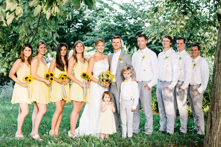 Casual Gray White And Yellow Wedding Party Attire