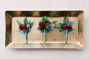 Simple Crimson Blossom Boutonnieres