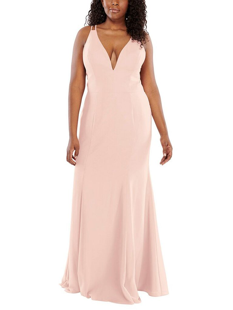 Strappy blush plus size bridesmaid dress