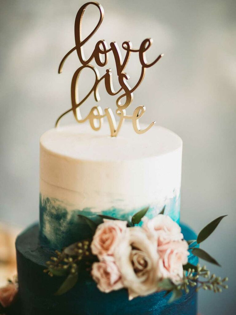 Small wedding cake with blue ombré icing