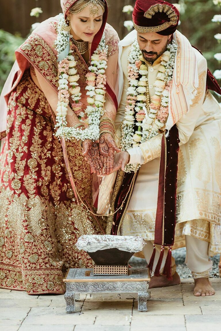 Hindu wedding ceremony with fire ritual