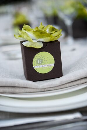 White and Green Floral-Topped Wedding Favor