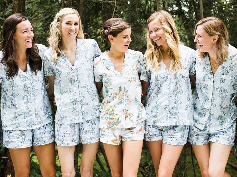 03c771a1c3 Bride with bridesmaids in pajama sets