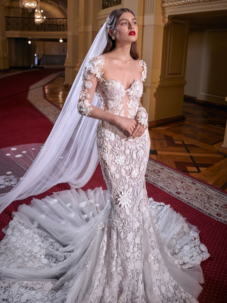 Galia Lahav Spring 2020 Bridal Collection floral lace fit-and-flare wedding dress
