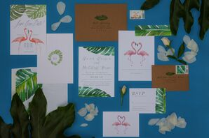 Tropical Stationery Suite with Flamingos and Palm Trees