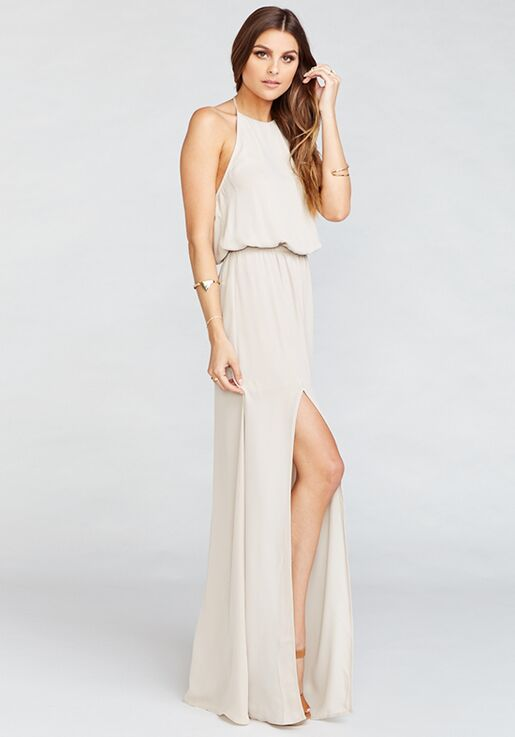 b8b9241d191 Show Me Your Mumu Jenn Maxi Dress - Show Me the Ring Crisp Halter  Bridesmaid Dress