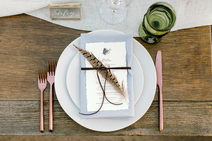 Rustic Place Setting with Feather, Menu and Rose Gold Flatware