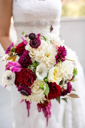 Jewel-Toned Wine and White Bridal Bouquet