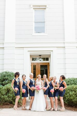 Navy and Gold Lilly Pulitzer Bridesmaid Dresses