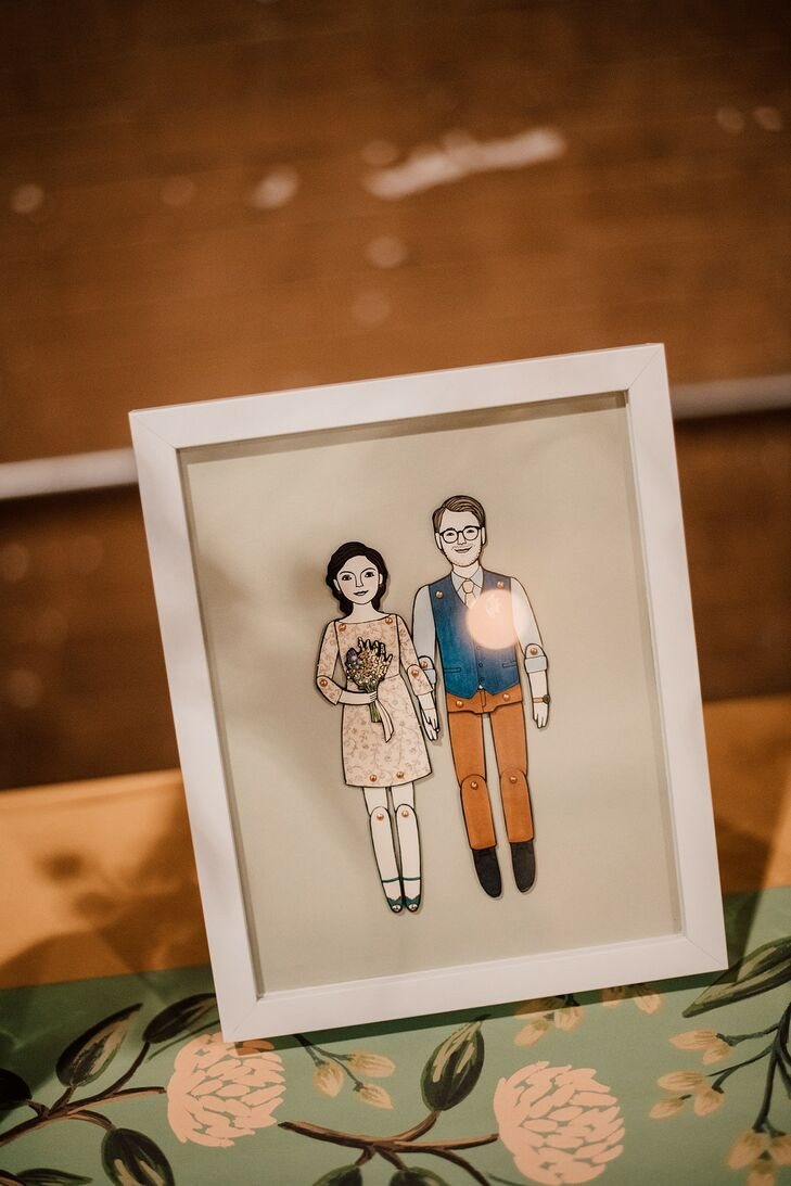 Personalized Framed Illustration of the Bride and Groom