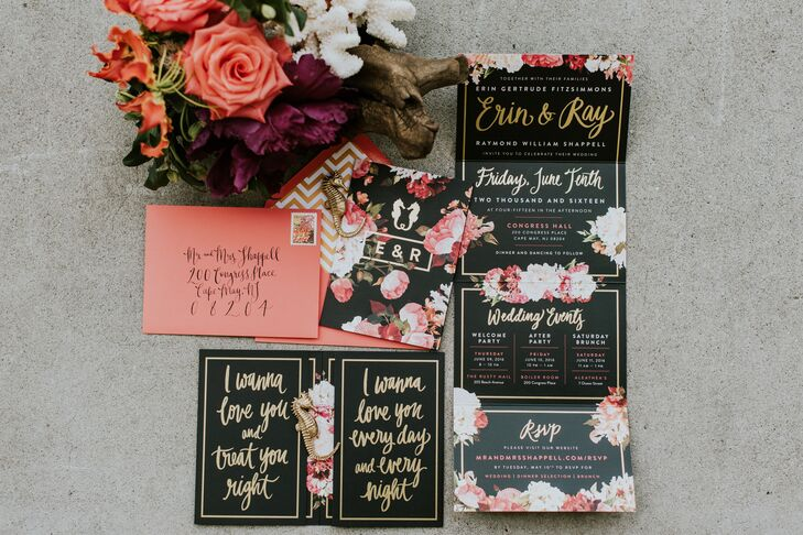 Black and Gold Floral Wedding Invitations with Seahorse Detail