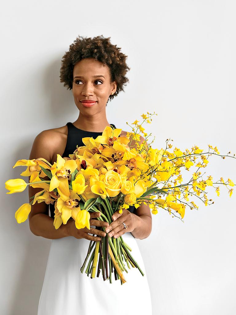 Bright Blooms yellow bouquet modern wedding details