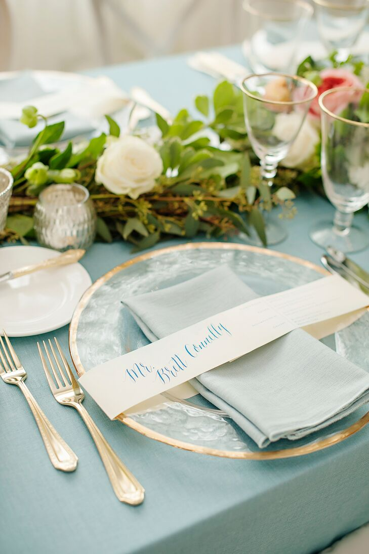 Preppy Pale Blue Place Settings with Gold Flatware