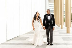 Glamorous Beaded Wedding Dress and  Black Velvet Tuxedo Jacket