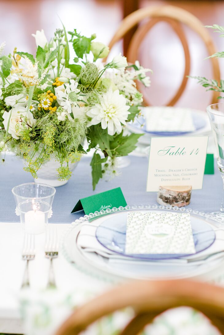 Pale Blue Table Runner with a Green, White and Yellow Centerpiece