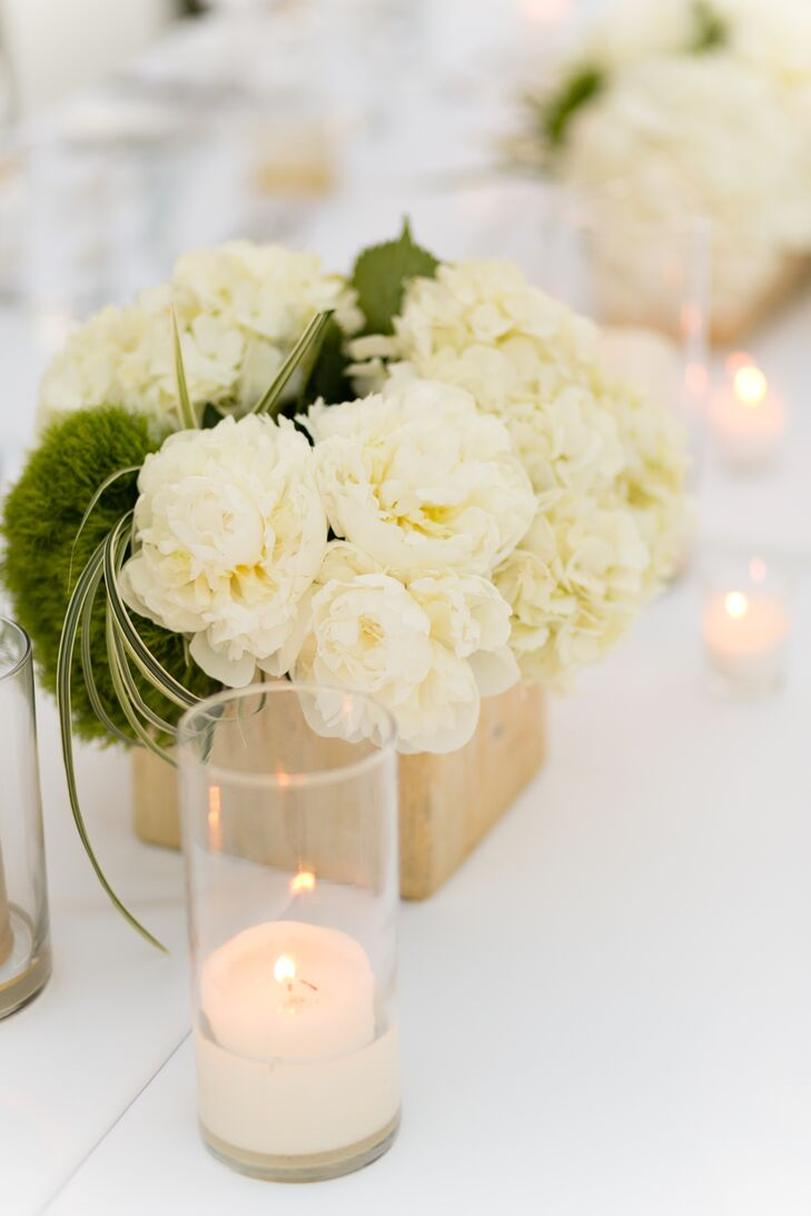Simple, Classic White Peony and Hydrangea Centerpiece