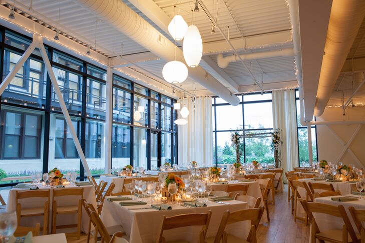 "The couple quickly chose Chicago's Greenhouse Loft thanks to the modern feel of the space. ""We loved the natural look of the floors and floor-to-ceiling windows too,"" Kelly says."