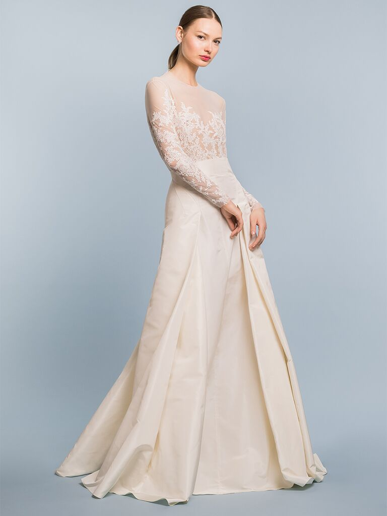 EDEM Demi Couture A-line dress with high-wasited skirt and lace embroidered bodice