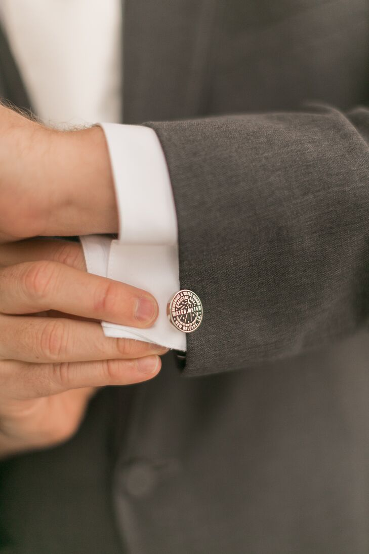 """My husband's tux was steel gray, as was the best man's, and my husband wore New Orleans water meter cuff links,"" Beth says."
