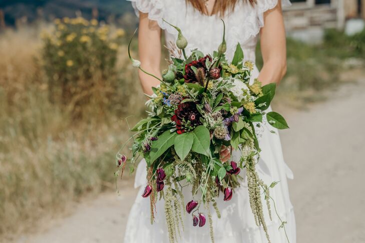 Natural Bouquet with Wildflowers and Leaves