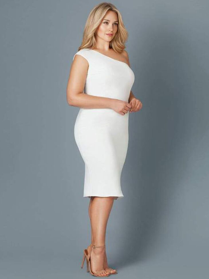 Fitted one shoulder midi dress