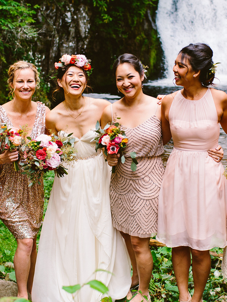 Blush And Metallic Mismatched Bridesmaid Dresses