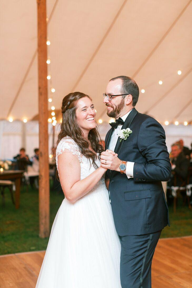 Couple Shares First Dance Under Tent at Martha's Vineyard Wedding