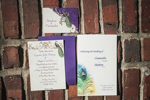 Ivory Peacock-Inspired Wedding Invitations
