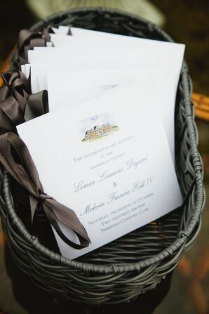 Ceremony Programs Tied with Brown Ribbon