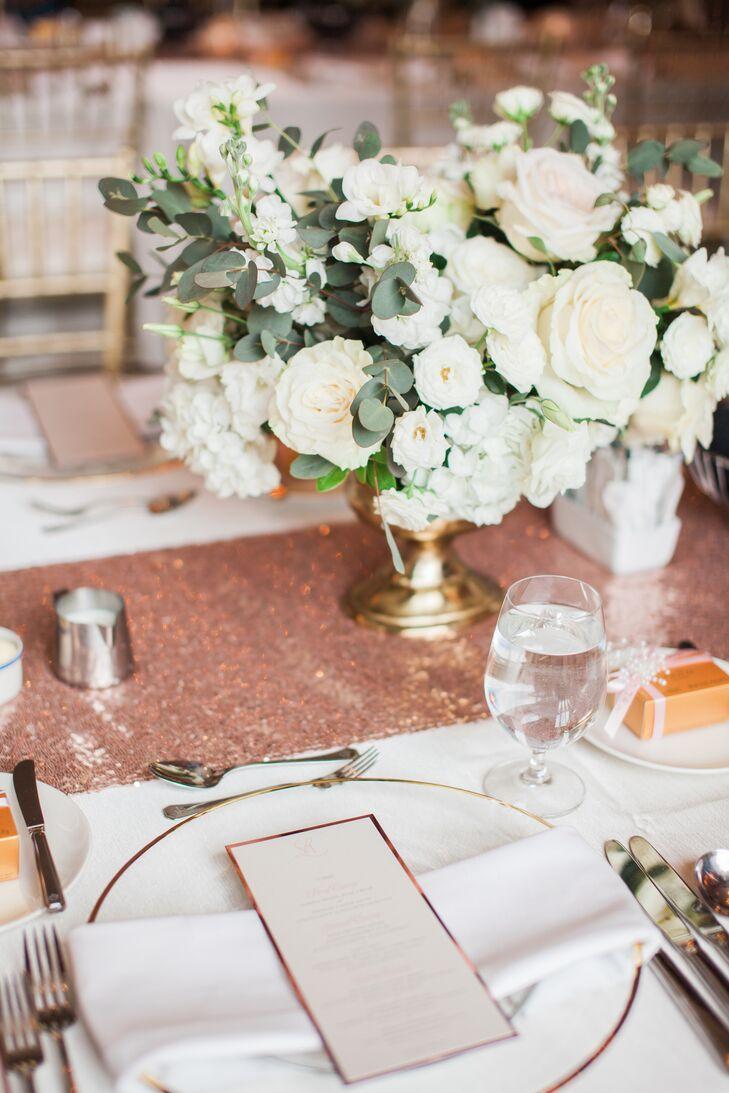 White Garden Rose and Eucalyptus Centerpieces