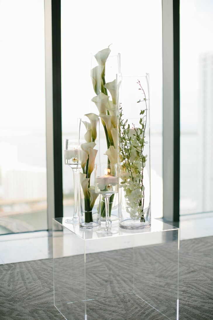 Modern White Orchids in Glass Vases